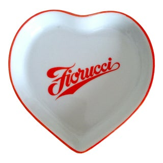 Vintage 1980's Rare Fiorucci New Wave Italian Fashion Iconic Post Modern Porcelain Ceramic Heart Dish For Sale