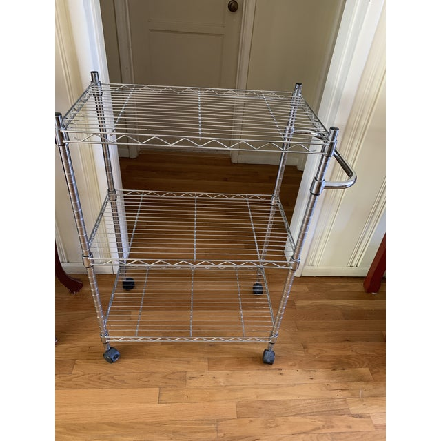 Modern Utilitarian Rolling Shelf Bar Cart For Sale In Los Angeles - Image 6 of 13