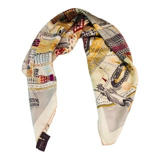 Asprey & Co. New York City Landmarks Silk Scarf For Sale