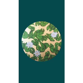 Tondi Fiori Collection Water Lily Gold Circular Shaped Wallcovering over Botanical Garden For Sale