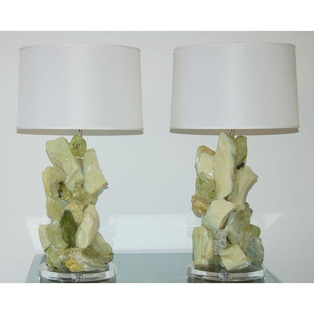 Rock Candy glass table lamps by Swank Lighting! These beautiful crystal cluster lamps in LIME GIMLET are made of recycled...