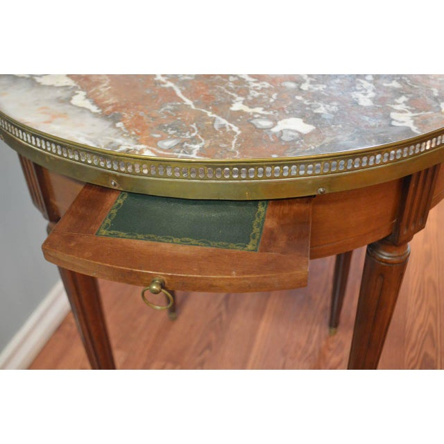 Brown Louis XVI Style Mahogany Bouillotte Table With Original Marble Top For Sale - Image 8 of 9