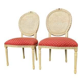 Victorian French Louis XVI Fauteuil Vintage Chairs - a Pair For Sale