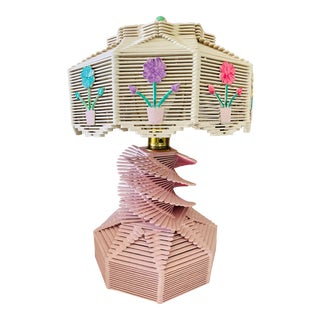Mid-Century Tramp Art Rose Pink Lamp