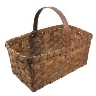 Early 20th Century Antique American Primitive Handwoven Basket For Sale