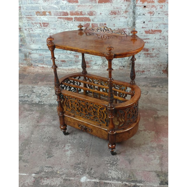 """19th c. Georgian Carved Burl Wood Library Book Stand & Magazine rack size 30 x 15 x 35"""""""