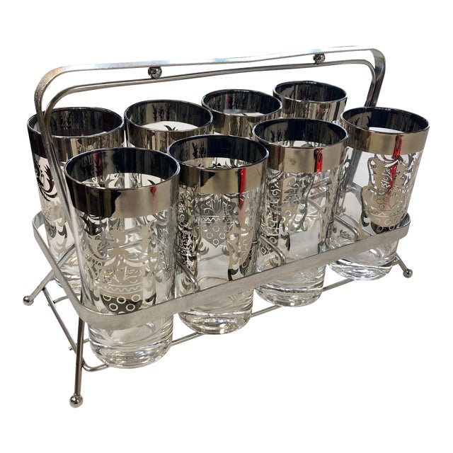 Vintage Kimiko Guardian Knight Highball Set With Caddy - 8 Pieces For Sale