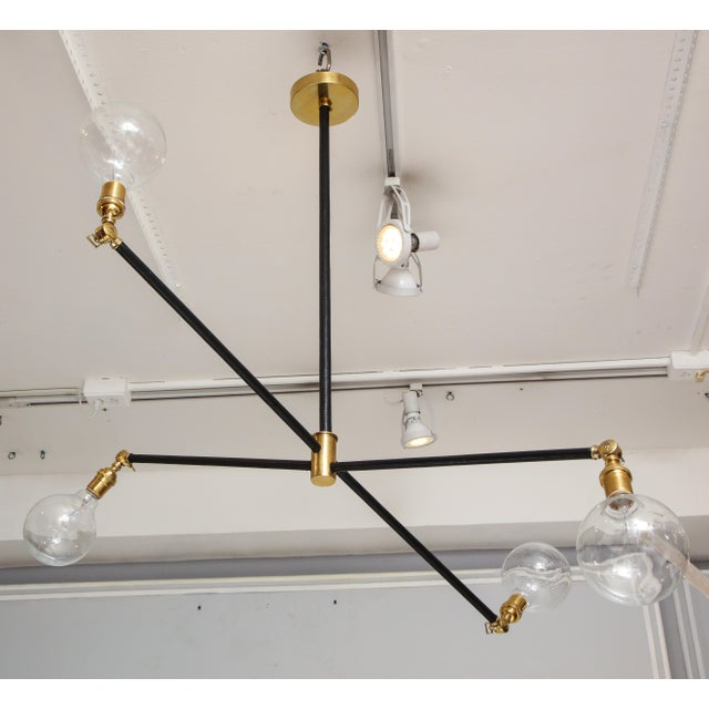 Not Yet Made - Made To Order Sculptural Custom Leather and Brass Four-Arm Fixture With Articulating Arms For Sale - Image 5 of 13