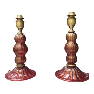 Red and Gold Murano Glass Table Lamps - a Pair For Sale