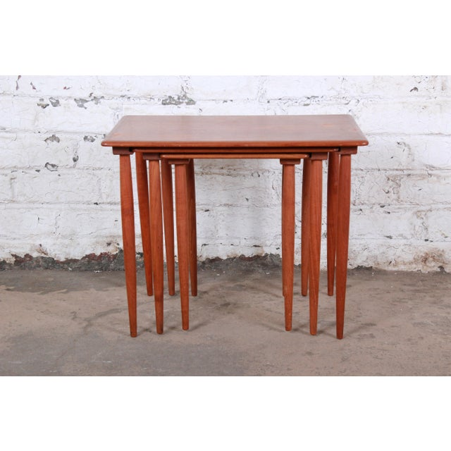 Contemporary Danish Modern Teak Nesting Tables - Set of 3 For Sale - Image 3 of 11