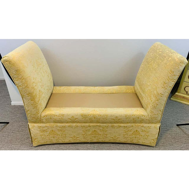 Art Deco French Art Deco Style Yellow Gold Bench or Window Seat After Dominique, a Pair For Sale - Image 3 of 13