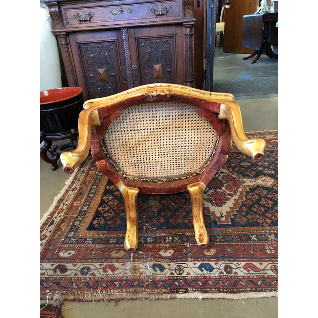 Gold Late 19th Century Antique Hand Carved Venetian Arm Chair For Sale - Image 8 of 11