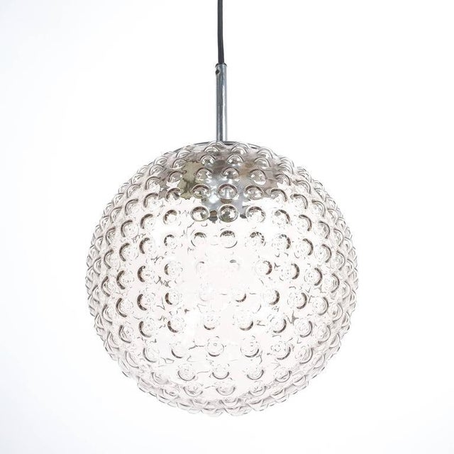 Mid-Century Modern One of Five Bubble Glass Chrome Pendant Lamps by Staff, 1960 For Sale - Image 3 of 6