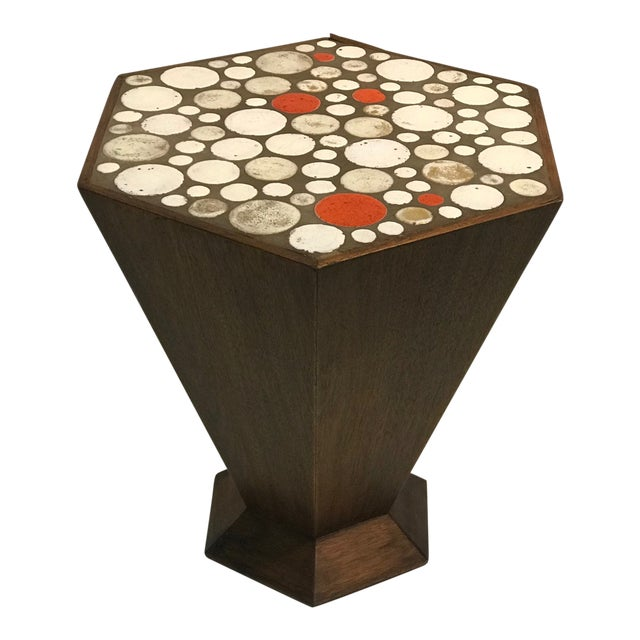 Unusual Tile Accent Table with Beautiful Colored Tile For Sale