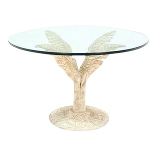 Mid-Century Modern Painted Cast Aluminum Banana Leaf Base Center Table For Sale