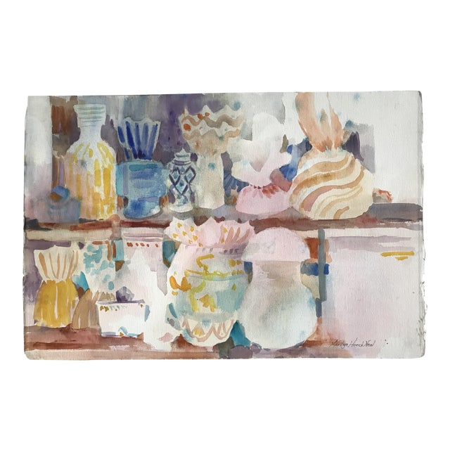 Vintage Americana Wonderful Watercolor Still Life For Sale