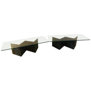 Pair of Zig-Zag Coffee Tables in the Style of Paul Evans For Sale