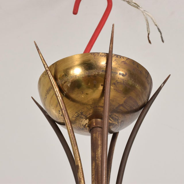 Gold Mid Century Sculptural Modern Italian Murano Chandelier Five Arms For Sale - Image 8 of 11