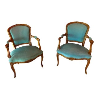 Vintage French Louis XV Velvet Upholstered Beech Armchairs - a Pair