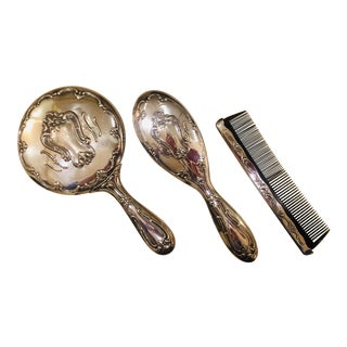 Mirror, Comb and Brush Vanity Set (Vintage Silver-Plate Gorham) Delicately Engraved For Sale