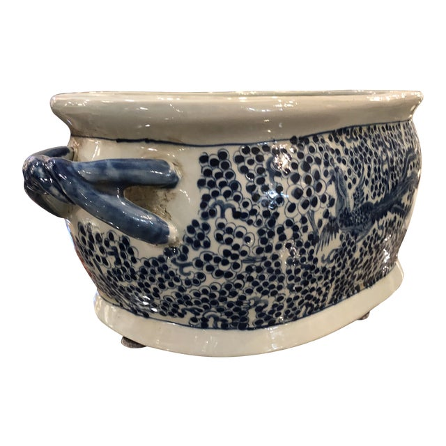 Chinese Oblong Blue & White Planter For Sale
