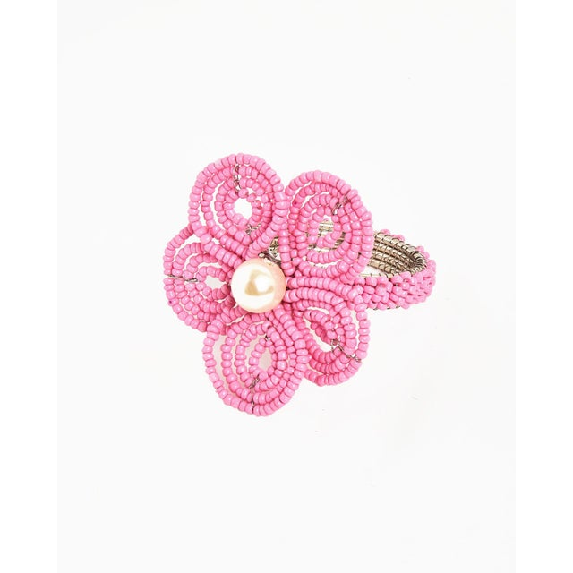 Boho Chic Pink Floral Napkin Ring For Sale - Image 3 of 3