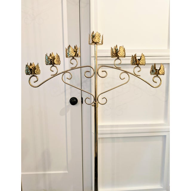 Vintage Late 20th Century Brass Seven-Light Adjustable Floor Candelabras - a Pair For Sale In Portland, ME - Image 6 of 8
