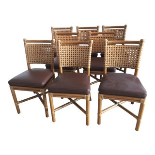 McGuire Rawhide, Leather Rattan Dining Chairs - Set of 8