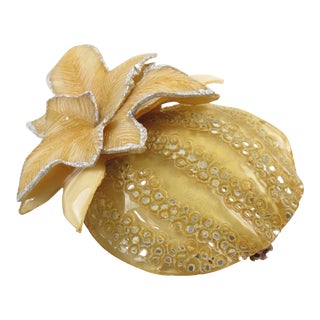 Cilea Paris Fantasy Pumpkin Yellow Resin Pin Brooch For Sale