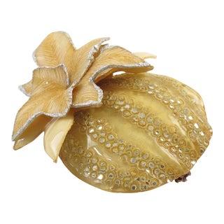 Cilea Paris Fantasy Pumpkin Yellow Resin Pin Brooch For Sale