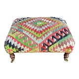 Image of George Smith Style Kilim Ottoman For Sale