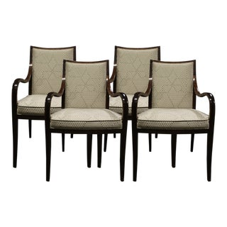 Traditional Donghia Jacquard Dominique Dining Chairs - Set of 4 For Sale