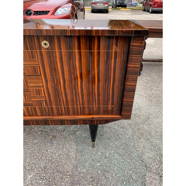 Brown 1940s Art Deco Exotic Macassar Ebony Sideboard/Credenza For Sale - Image 8 of 13