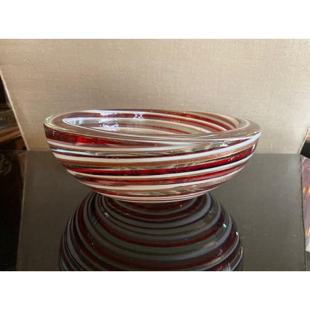 Mid-Century Modern 1960s Murano Candy Cane Stripe Bowl For Sale - Image 3 of 12