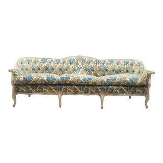 1960s French Provincial Green & Blue Velvet Sofa - Vintage Velvet Hollywood Regency Couch For Sale