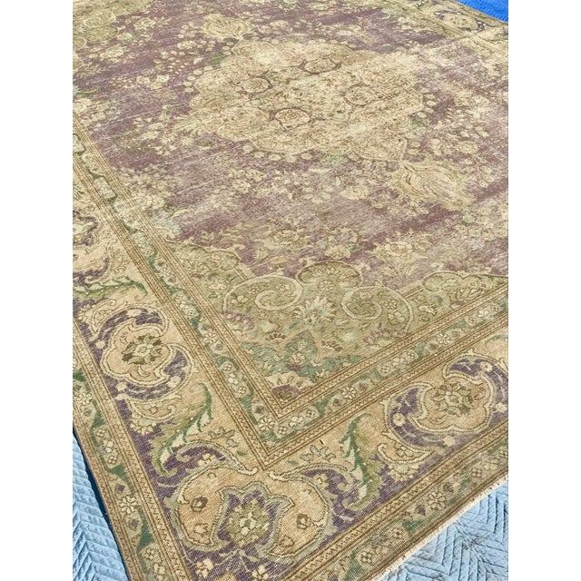 Large Antique Turkish Plum, Green, Beige Wool Rug - 9′5″ × 12′5″ For Sale - Image 12 of 13