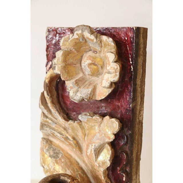 18th Century Carved and Gilded Decorative Fragment as Candleholder - Image 3 of 5