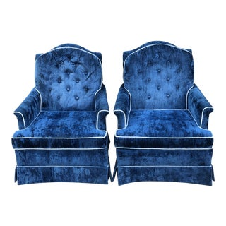 Vintage Mid Century Blue Crushed Velvet Arm Chairs - a Pair For Sale
