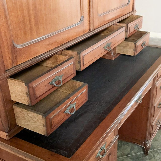 Grand 19th Century Louis Philippe Mahogany Desk With Bookcase For Sale - Image 10 of 13