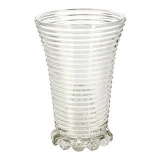 Ribbed Optic Glass Vase For Sale