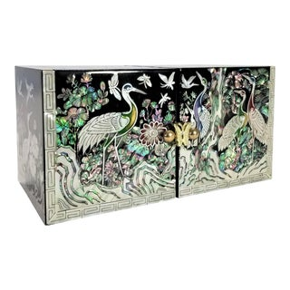 Abalone and Mother of Pearl Asian Jewelry Box With Cranes Butterflies and Flowers - Mid Century Modern Chinese Chinoserie Oriental For Sale