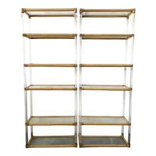 Pair Bamboo & Lucite Etageres