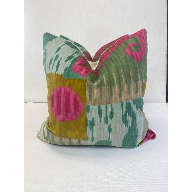 "Textile Pierre Frey ""Bella Coola"" Acid/Lime 22"" Pillows-A Pair For Sale - Image 7 of 7"