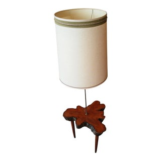 Live Edge MCM Style Floor Lamp Table For Sale