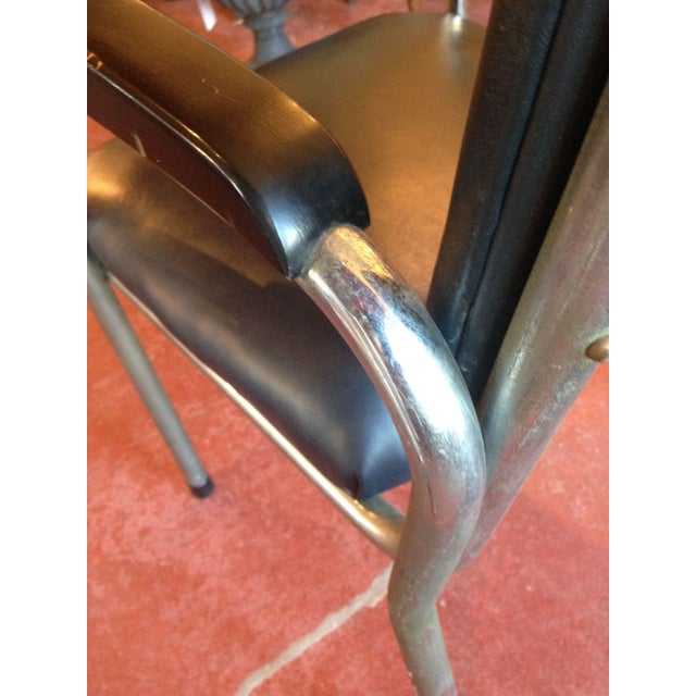 Industrial Mid-Century Deco-Style Tubular Chrome Armchairs - a Pair For Sale - Image 3 of 9