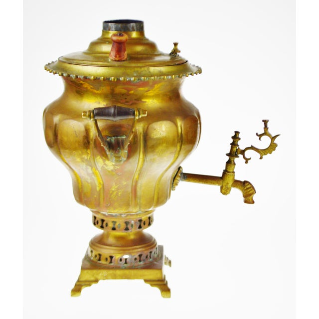 Early Brass Pear Shaped Russian Samovar Marked For Sale - Image 5 of 11