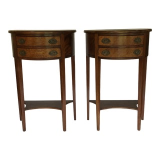 Hepplewhite Demilune End Table a Pair For Sale