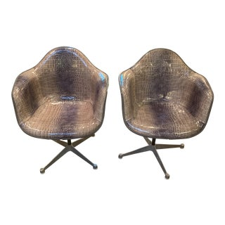 Mid Century Modern Charles Eames for Herman Miller Bucket Shell Chairs Newly Upholstered - Pair For Sale
