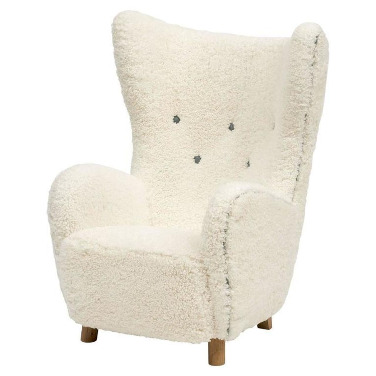 Exceptionnel Mogens Lassen Wingback Lounge Chair In Sheepskin, Denmark, 1930s   Image 11  Of 11