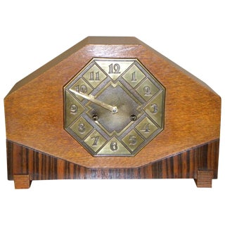 Striking Art Deco Mantle Clock With Mixed Wood and Brass Detail For Sale